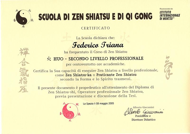 Attestato conclusione percorso Professionale Shiatsu