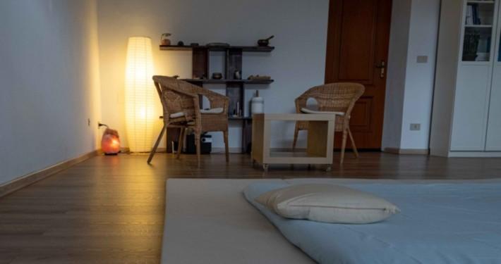 Studio Zen Shiatsu, sede colloquio con il ricevente e futon per trattamenti